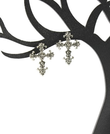 Deco Gold and Silver Cross Earrings