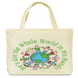 """He's Got the Whole World"" Lightweight Tote, 14-1/2""x16"""