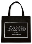 I Can Do All Things Through Christ Lighweight Tote Bag 14-1/2 x 13