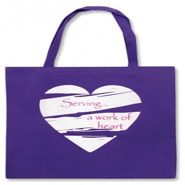"Serving, A Work Of Heart, Lightweight Tote Bag, 14-1/2"" x 13"""