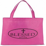 Blessed Pink, Lightweight Tote Bag with Cross, 14-1/2