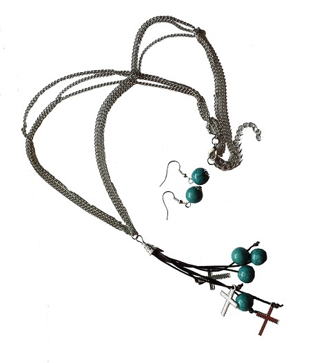 Tassel Necklace, Matching Earrings with Turquoise and Crosses Available in Silver and Gold