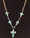 Colored Cross with Beads Metal Chain Necklace
