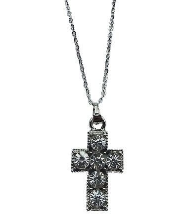 Silver or Gold Cross Necklace with Rhinestones