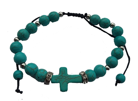 Stone and Silver Bracelet with Cross.  Available in turquoise, ivory, black and red.