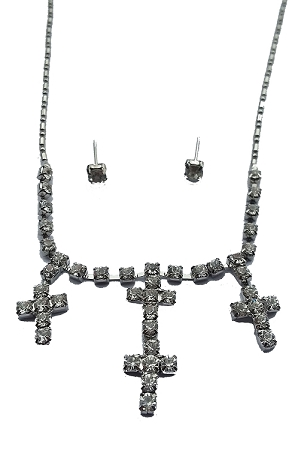 Silver Rhinestone Cross Necklace w/ Earrings