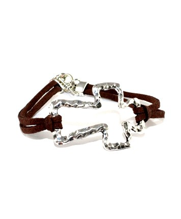 BLACK AND BROWN SUEDE STRING BURNISH SILVER CROSS TOGGLE BRACELET.
