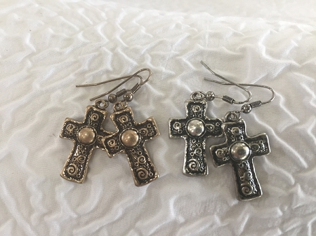 Gold or Silver Deco Cross Earrings