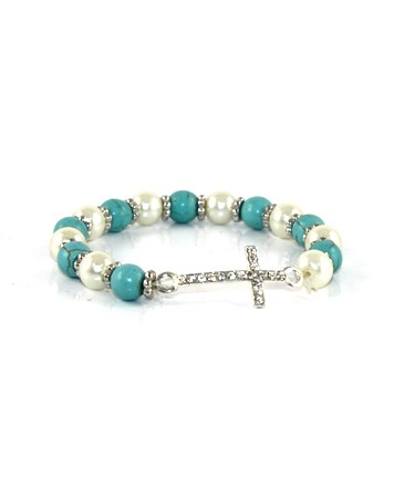 Faux Pearl and Turquoise Bracelet with Rhinestone Cross