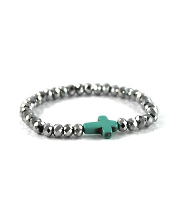 Metallic silver beads, deco turquoise cross stretch bracelet