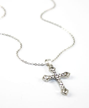 Gold or Silver Cross Necklace with Rhinestones