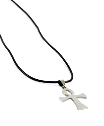 Silver Cross on Black Cord Symbolizing Life