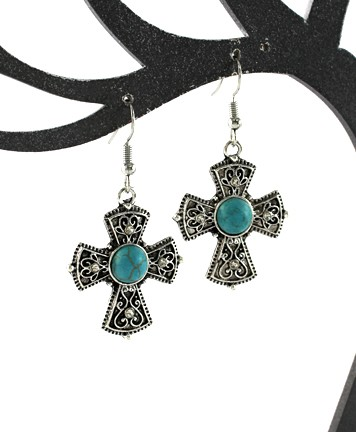 Deco Cross Earrings w/Turquoise and Rhinestones