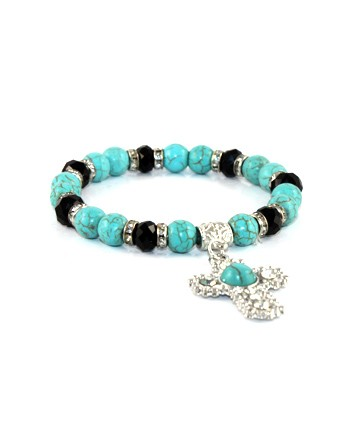 SILVER METAL FINISH TURQUOISE STONE CROSS STRETCH BRACELET. MIXED 6COLOR