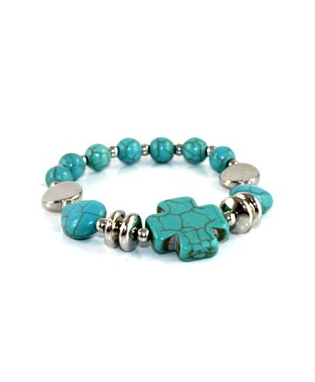 Turquoise and Silver Bracelet with Turquoise Cross