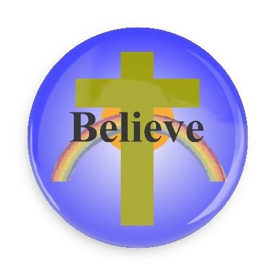 "Believe Button - 2.25"" with standard pin back....."