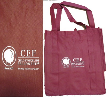 Burgundy CEF Tote Bag w/White Print
