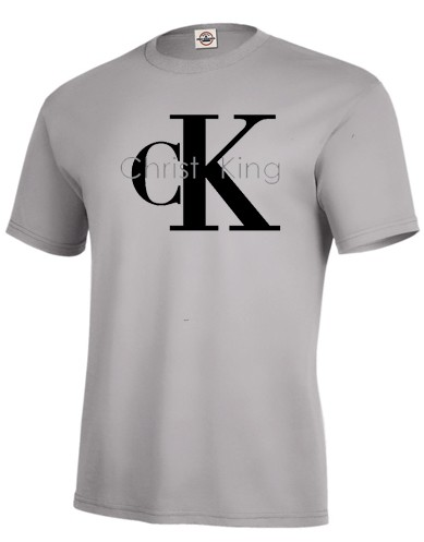 Christ is King t-shirt with a large CK emblem