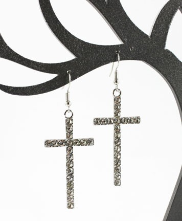 Gold or Silver Cross Earrings with Rhinestones