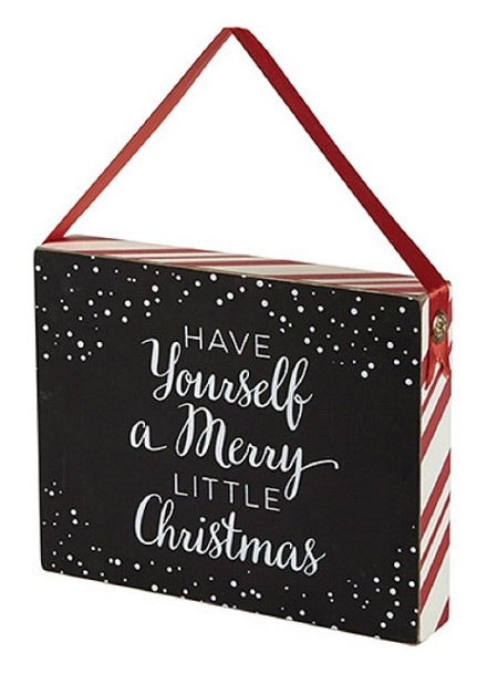 Chalkboard Wooden Box Plaque - Merry Little Christmas