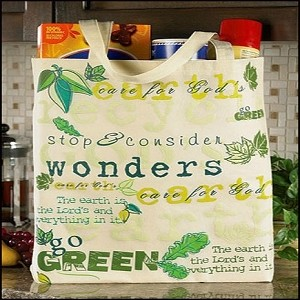 "Care for God's (Green) Earth, Lightweight Tote Bag, 14-1/2""x16"""