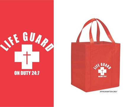 "Life Guard on Duty 24/7 Red Bag w/White Print, 13"" x 9-1/2"" x 15"""