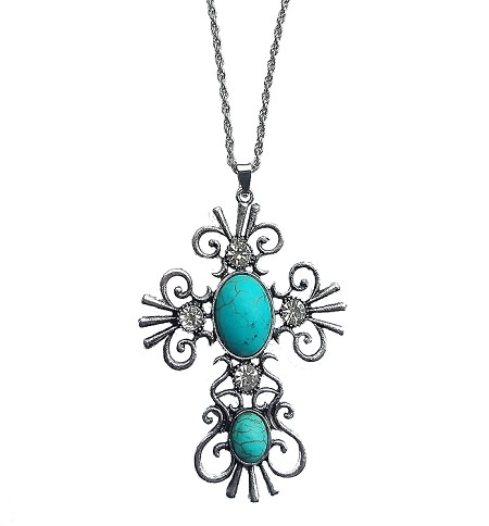 Large Silver Cross Necklace w/Turquoise and Rhinestones