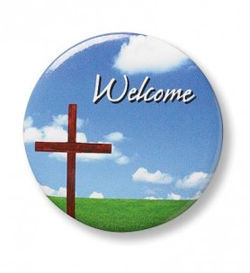 Welcome with Cross Button